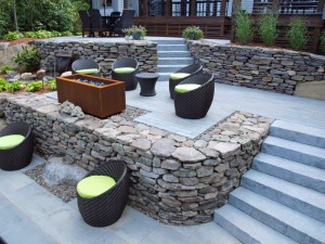 Seating area and fire pit Nashua patio